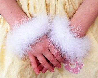 SUMMER SALE 20% OFF Custom Marabou Wristlets - Set of 2 white marabou feather bracelets - get a pair to match your tutu or angel costume