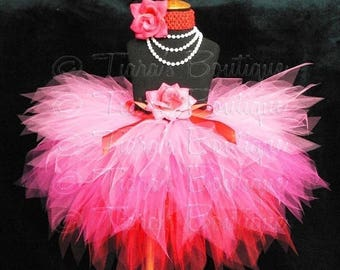 SUMMER SALE 20% OFF Hot Pink Red Tutu for Valentine's Day, Girls Tutu, Hearts Afire, Custom Sewn Tutu, Layered 3 Tiered Pixie Tutu and Headb