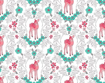 Flora and Fawn by Amanda Herrin for Riley Blake, Flora Deer on white, 1 yard