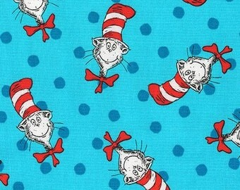 """Dr Seuss,  """"Cat Heads and Polka dots"""" on BLUE, Cat in the Hat by Robert Kaufman, yard"""