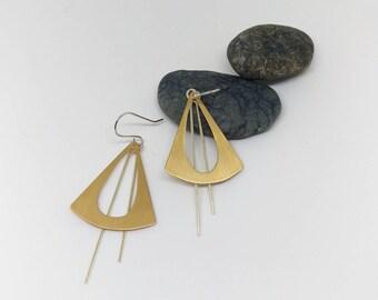 Large Brass & Silver Geometric Statement Earrings