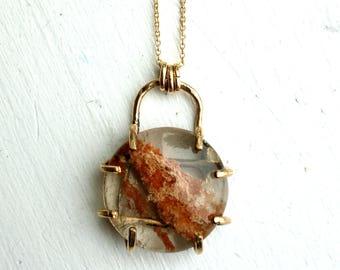 lodolite quartz or Red Moss Quartz in 14k Goldfill Prongs Handmade Pendant One of a Kind,