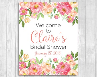 Coral and Pink Peonies 8x10 Custom Printable Bridal Shower Welcome Sign - Coral and Pink Watercolor Peonies - Features Bride-to-be's Name