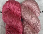 Reserved : Silk Yarn - Hand Dyed worsted - Shades Rose and Blush Pink
