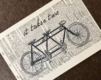 Bike Print - Bike Art - Bicycle Print - Bicycle Art - Bike Wall Art - Tandem Bicycle - Tandem Bike - wall decor - Bike Love