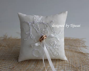 Wedding ring bearer pillow with ivory charm embroidered lace aplique-ring holder, ring cushion, ready to ship