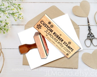 1x2 Custom Sized Wood Mounted Rubber Stamp Your logo, art,or idea. Business Stamp Wedding Stamp Paper Crafting Stamp Personalized