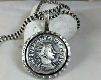 Men's silver coin necklace,  ancient Roman Coin necklace, unisex jewelry, silver and ancient coin pendant, ancient coin jewelry