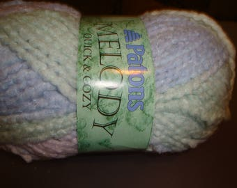 Paton Melody Yarn/Shades of Purple, White, Green /Stash Busting / Detash