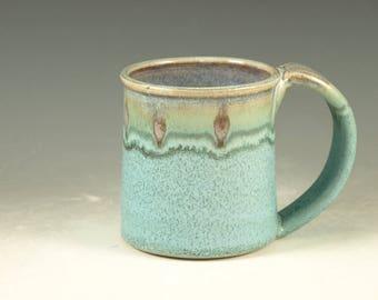 Ceramic mug with large Handle, turquoise, wheel thown (14oz)