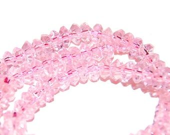 Pink Crystal Rondelles, Color Shift Pale Rose Quartz Pink Color, 3 X5mm, Full Strand