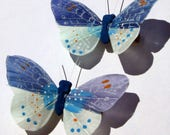 Butterfly Hair Clips Blue feather butterfly Blue Butterflies Hair Ornament hand made hair clips by Ziporgiabella Butterfly Accessories