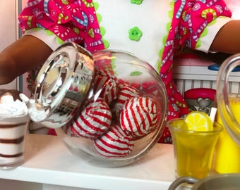 American Girl Our Generation 18 Inch Doll Large Glass Candy Jar of Faux Foil Chocolate Balls