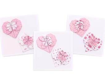 Handmade Origami Hearts Engagement or Wedding Card