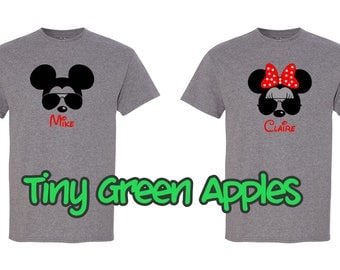 Personalized Disney Mickey Minnie sunglasses ray bans inspired shirt w/name family matching tees