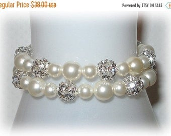 ON SALE 20% OFF Double Bliss Bracelet With Pearls In Silver