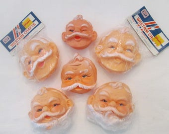 Doll Making Supplies - Six Assorted Vinyl Santa Doll Heads/Faces - Destash - Christmas In July