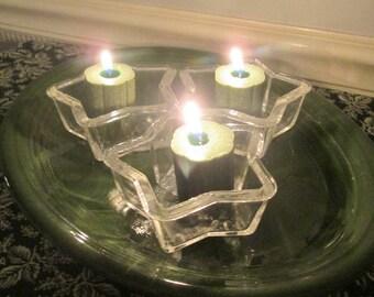 Vintage Christmas - Three Vintage Phoenix Glass Star Molds - Baking Dish/ Jello Mold - Holiday Decor - Candle Lights