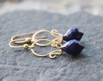 Lapis Gemstone  Earrings,Gold Earrings,Bridesmaids  gift, briolette gemstone earrings, wire wrapped dangle earrings