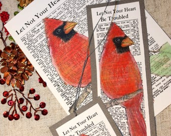 F R E E  Shipping  Male Red CARDINAL Let Not Your Heart Be Troubled  Art Print + bookmark + tag Religious Hymn 4x6, 5x7, or 8x10