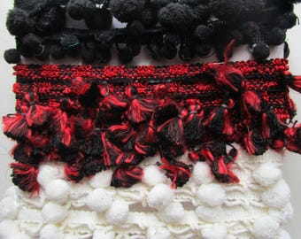 6 yards Assorted Vintage  Pompom Fringe Orlon Acrylic  Rayon 1970s 70s Black White Red