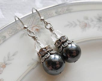 Sale, Charcoal Gray, Clear Rhinestone and Vintage Bead Earrings, Antique Silver Finish