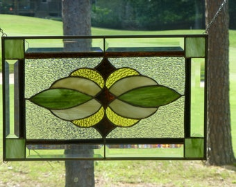 Earthy Stained Glass & Beveled Window Panel!