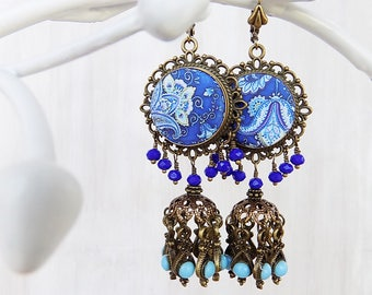 Gypsy earrings, Paisley Earrings, boho jewelry, Blue and Turquoise Jhumkas, Turquoise jewelry, Folk art pattern, festival earrings, earrings