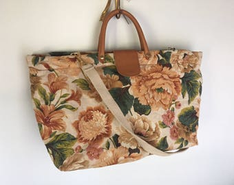 Flora - Beautiful Fabric and Leather Floral Tote. Made in Italy.