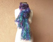 Aquatic Scarf Knit Ribbon Scarf with Blue Green Purple Pink Brown Sparkle Mermaid Scarf. Long Fringe. Gift for Aquarius Gift for Pisces Gift
