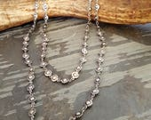 Long Silver Bead Chain Necklace, Long Antique Silver Wheel Chain Necklace, Concho Necklace, Concho Southwestern, Bohemian Rock n Roll