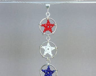 Stars, red white and blue silk necklace, sterling silver