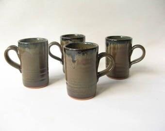 Pottery Espresso Cups Set of 4, Demitasse Set, Stoneware Espresso Cups