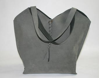 Gray Leather Tote Bag - Heart Shaped Bag