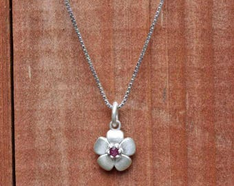 Flower Birthstone Necklace - Daisy Flower Charm Necklace with Genuine Birthstone - by Laurie Sarah - Choose your Birth Month - LS5171