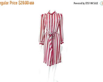 Summer Sale Vintage 1970s  Dress with Black Polka Dots by Lady Carol of New York// Purple and White Stripped Dress // 121