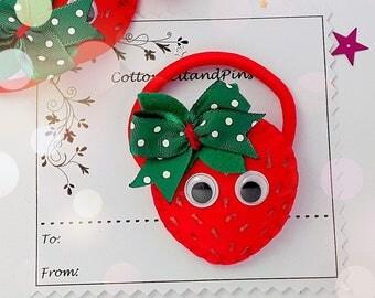 Strawberry hair Clip or hair tie, Handmade felt padded Strawberry Barrette, bobble, strawberries hair elastic,ponytail holders,pigtails