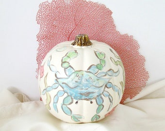 Faux Coastal Beach Pumpkin with Blue Crab, Handpainted Crab Fake Pumpkin, Cream colored Coastal Pumpkin with Crab OOAK, Beach Fall Decor