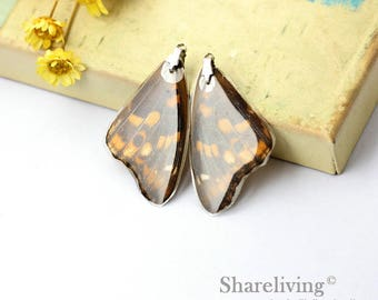 4pcs Handmade Real Butterfly Wing Charm / Pendant, Cover Resin with Silver Bail, Perfect for Earring / Necklace - RW001M