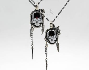 Sweet Jane or Johnny Rotten // Chrome Swarovski Skull and Sterling Silver Pendant, by BellaLili, Welded Silversmith