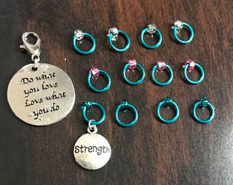 Love What You Do Ring Stitch Markers, Ring Stitch Markers, ring markers, notions, clip on charm, bag charm, planner charm, progress keeper