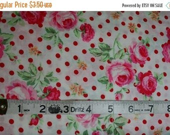 SALE FAT QUARTER Only Lecien Flower Sugar Spring 2014 Shabby Romantic Chic Floral Rose and Red Polka Dot on White (fq001)