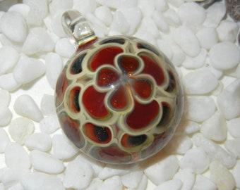 Lampwork Boro Glass Pendant - Foca Bead - Dotted round red beige
