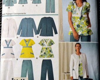 Uncut Sewing Pattern Simplicity 3542 Women's Scrub Top Pants and Jacket Size 20-28W Bust 42 - 50 inches Uncut Complete Scrubs