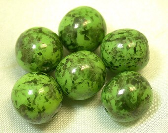 Vintage GLASS PICASSO Beads Green Black 10mm pkg 6 gl77a