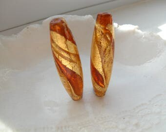 Murano Glass Topaz Bead Pair, 38mm