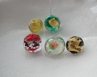 6 Venetian Murano Glass Beads