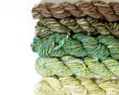 gnome home ... handspun yarn set, weaving creative yarn bundle, hand spun, hand dyed yarn, handspun art yarn