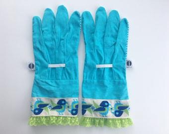 Limited Edition /// Designer Garden Gloves - Vintage Bird. Women's Work Gloves.