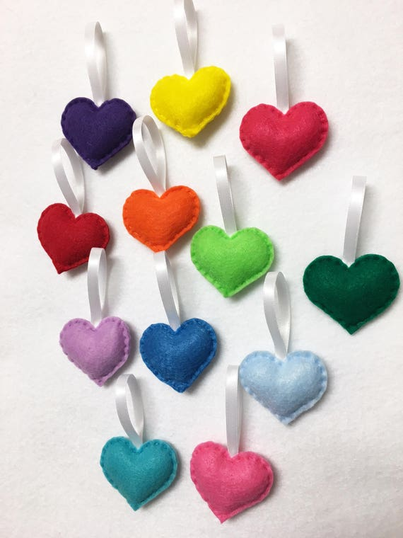 Heart Ornament, Felt Ornament Set - Rainbow Love - 12 Hearts, Rainbow Birthday Decoration, Valentines Day